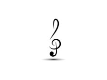 Musical Abstract Vector Treble Clef, Icon, Silhouette. Art Style. The Element Is Isolated On A Light Background.