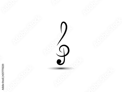 Fototapeta Musical abstract vector treble clef, icon, silhouette. Art style. The element is isolated on a light background. obraz