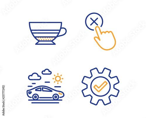 Fotografie, Obraz  Mocha, Car travel and Reject click icons simple set