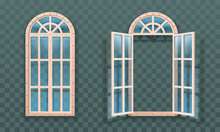 Open And Closed Windows Isolated. Woodens Frames And Glass. Vector Illustration.