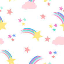 Seamless Repeat Pattern In Pastel Colors With Shooting Stars, Rainbows And Clouds