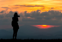 Silhouette Women At Sunset