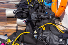 Diving Equipment On Board The Boat