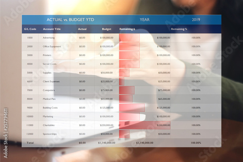 Photo The picture of general ledger with budget comparison chart on work space background
