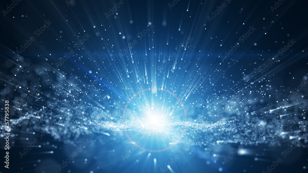 Fototapety, obrazy: blue background, digital signature with wave particles, sparkle, veil and space with depth of field. The particles are white light lines.