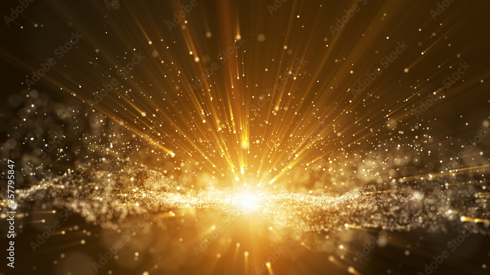 Fototapety, obrazy: Dark brown background, digital signature with particles, sparkling waves, curtains and areas with deep depths. The particles are golden light lines.