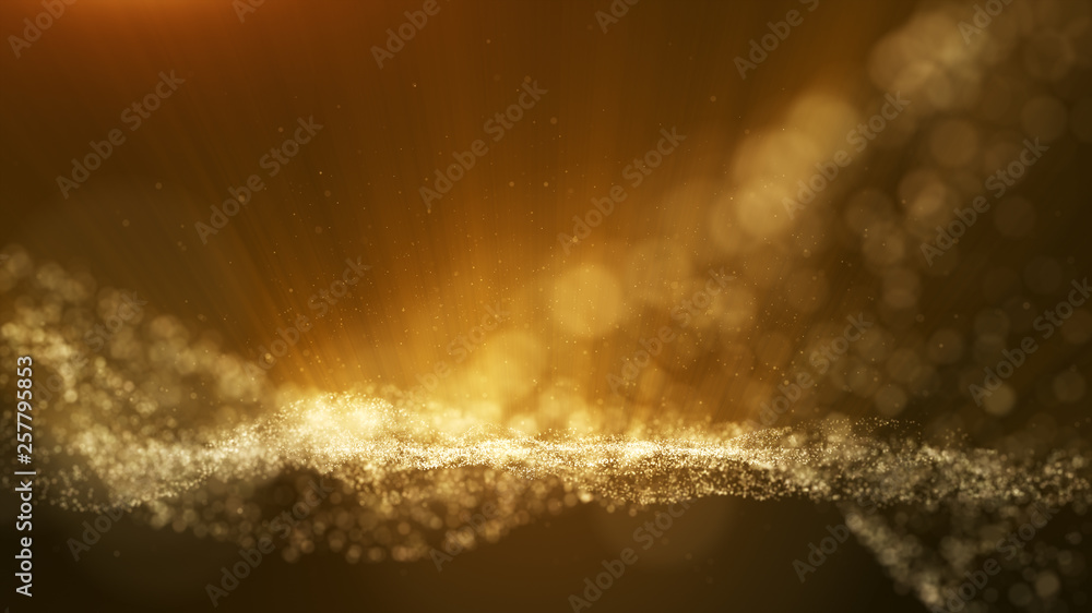 Fototapeta Dark brown background, digital signature with particles, sparkling waves, curtains and areas with deep depths. The particles are golden light lines.