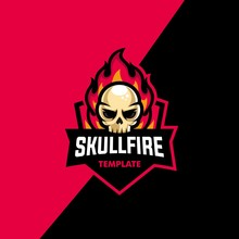 Skull Fire Sport Concept Illustration Vector Design Template