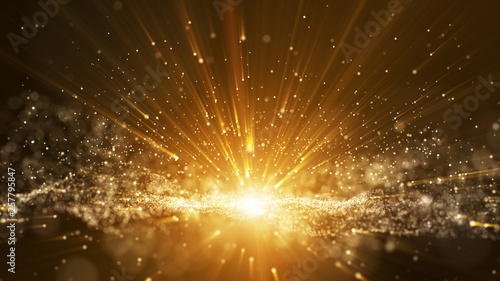 Fototapeta Dark brown background, digital signature with particles, sparkling waves, curtains and areas with deep depths. The particles are golden light lines. obraz