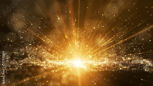Dark brown background, digital signature with particles, sparkling waves, curtains and areas with deep depths. The particles are golden light lines.