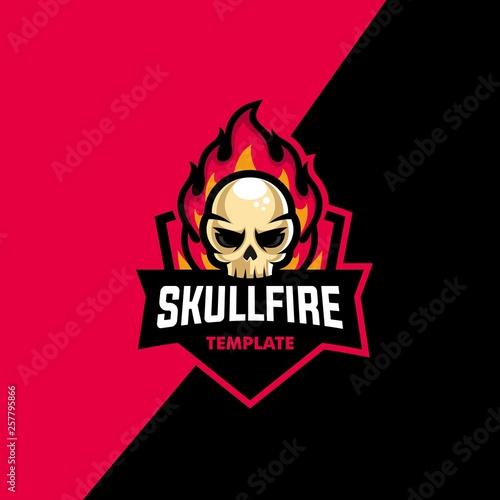 Skull Fire Sport Concept illustration vector Design template фототапет