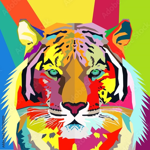 Fotografia, Obraz Hand Drawn Tiger Pop Art