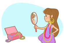Background For The Text With The Image Of A Little Girl In A Purple Dress, Who Wore Beads And Earrings Of Her Mother And Admires Herself In The Mirror. Place The Text In The Upper Left Corner.