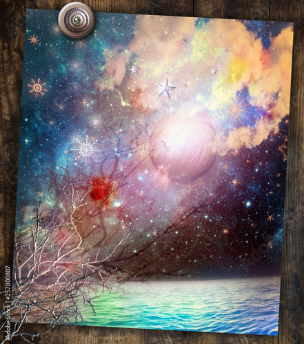 Stickers pour portes Imagination Seaside with starry night