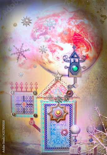 Poster Imagination Enchanted and fairytales landscape with strange door and window