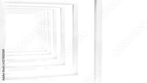 Fotografie, Obraz  3d rendering of White Clear Blank Subtle Geometric Abstract