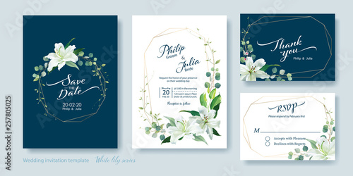 Wedding Invitation card, save the date, thank you, rsvp template Fototapet