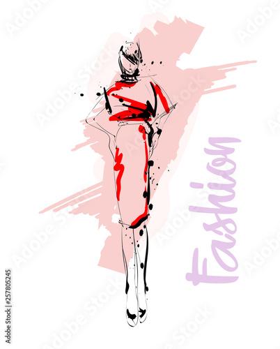 Hand drawn beautiful young woman. Stylish girl. Fashion woman sketch. Fashion model girl. Wall mural