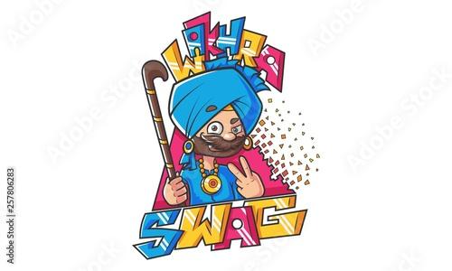 Fotomural Vector cartoon illustration of punjabi design- Wakhra Swag