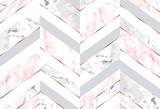 Bezszwowy abstrakcjonistyczny zygzakowaty geometryczny wzór z różowymi złocistymi liniami, różowym i szarym marmurem na białym tle - 257806420