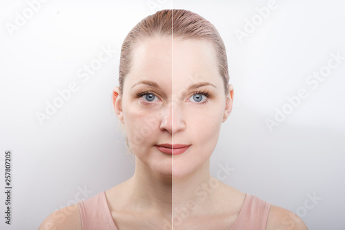 Fototapeta facial gymnastics. the girl does massage and rejuvenating exercises for the face obraz na płótnie