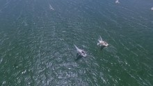 Aerial Footage Of Sailboats Ra...