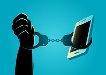 Hand Handcuffed With A Smartphone