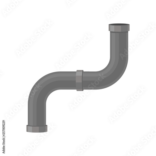 Curved plastic water pipe on white background. Fototapete