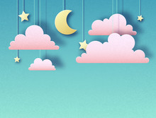 Night Sky With Stars, Clouds And Moon. Cut Out Paper Art Style Design