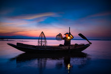Traditional Asia Fisherman Wit...