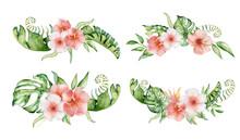 Tropical Set Watercolor Flower...