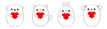 Happy Valentines Day. Cat Kitten Bear Dog Puppy Rabbit Hare Set Holding Red Heart. Line Contour Silhouette Cute Cartoon Kawaii Funny Baby Animal Character Flat Design Love Card White Background