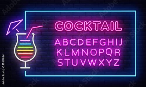 Fotografie, Obraz  Cocktail neon sign vector design template