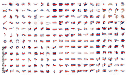 Photo  very big collection of vector flags of the Costa Rica