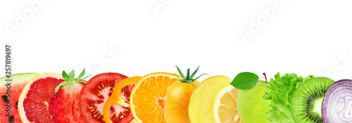 Poster Légumes frais Collage of mixed fruits and vegetables