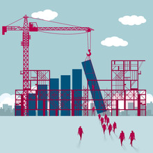 Building Site, Teamwork Concept. A Group Of Businessmen Walked Towards The Chart Being Built.