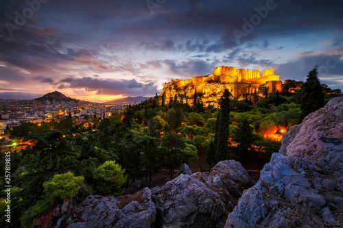 Canvas Print Acropolis and view of Athens from Areopagus hill, Greece.