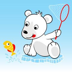 Funny polar bear cartoon try to catch fish
