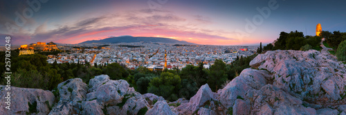 Poster Mediterranean Europe View of Acropolis from Filopappou hill at sunrise, Greece.