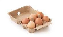 Fresh Brown Eggs In Carton On ...