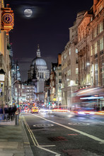 View Over London's Fleet Street To The St. Pauls Cathedrale By Night With Blurred Traffic, UK