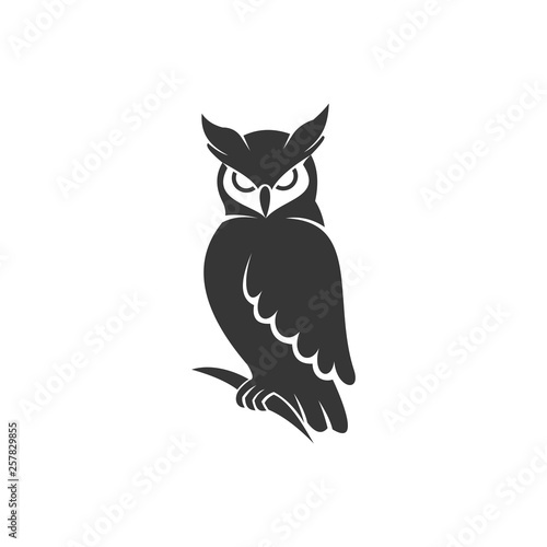 Tuinposter Uilen cartoon owl logo vector black