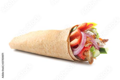 Fotografía  Tasty doner kebab on white background