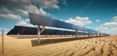 Modern black solar panel of a photovoltaic power plant in a ...