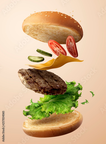 Fotografie, Tablou Delicious flying hamburger
