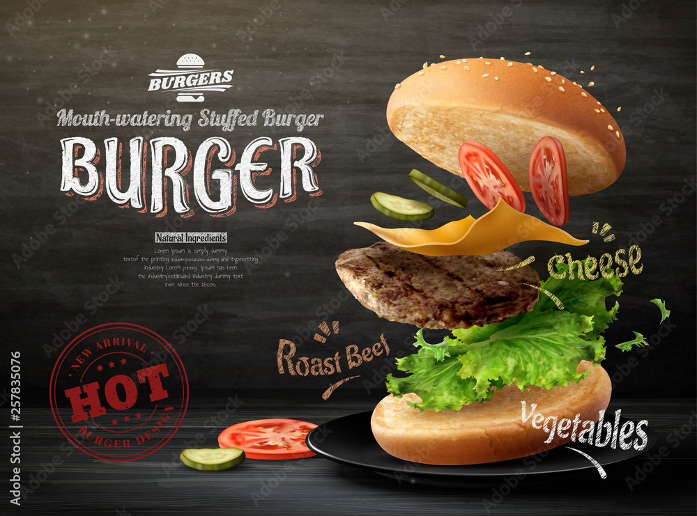 Fototapety, obrazy: Hamburger ads design
