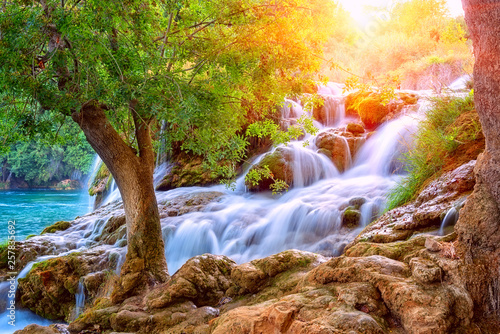 Cadres-photo bureau Cascades Amazing nature landscape, beautiful waterfall at sunrise, famous Skradinski buk, one of the most beautiful waterfalls in Europe and the biggest in Croatia, outdoor travel background