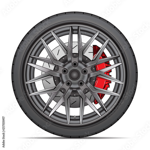 Cuadros en Lienzo Realistic wheel alloy with tire radial and break disk for sport racing car on white background vector illustration