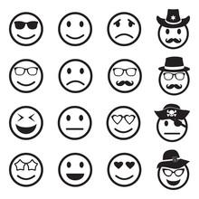 Emotion Icons. Black Flat Design. Vector Illustration.
