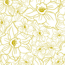 Ffloral Seamless Pattern With Contours Of Flowers Daffodils On White Background. Hand Drawn Manual Graphic. Design For Textile, Fabric, Wallpaper, Packaging. Vector Illustration